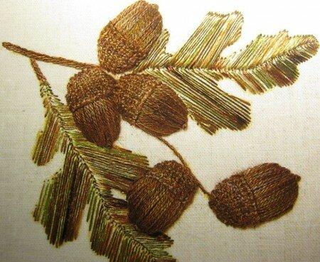 Вышивание желудей нитками мулине.