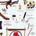 Инструменты и материалы для вышивки крестом.
