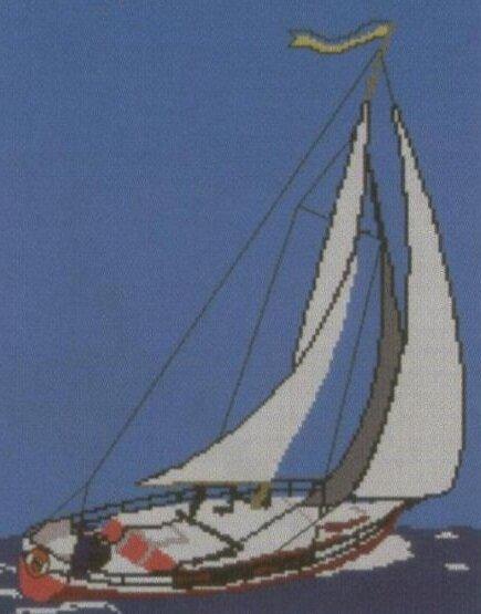 """Вышивка """"Парусные лодки""""."""