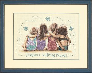 Вышивка «Happiness is having friends».