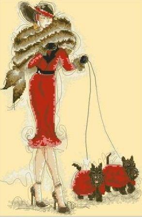 скачать схему для вышивания Дама с собачкой